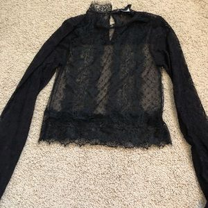 Forever 21 Long sleeve sheer lace top